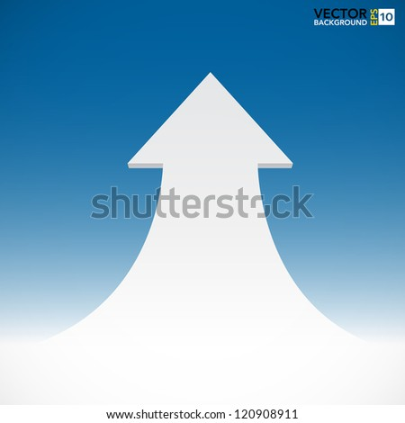 Abstract 3D  arrow on blue sky background. EPS10 - stock vector