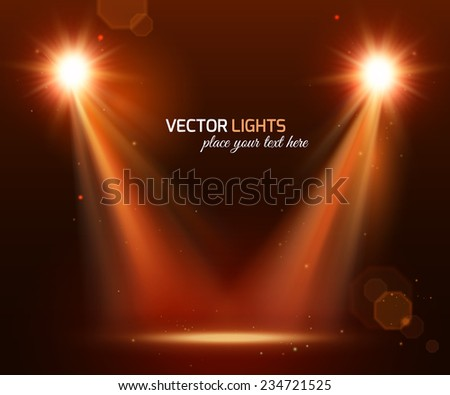 Abstract disco background with spot lights and bright rays. - stock vector