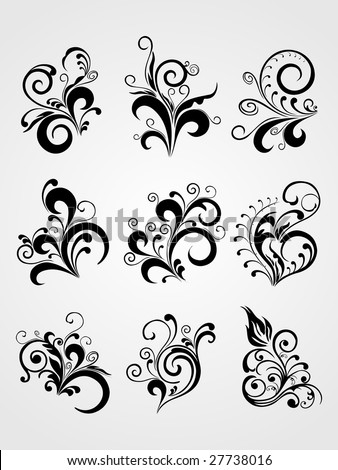 abstract Floral silhouette, element for design,  tattoo illustration