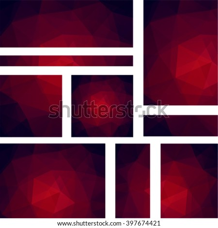 Abstract geometric style  background.  Blue business background  Vector illustration. Dark red. Set - stock vector