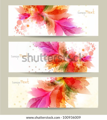 abstract headers with floral elements . Vector design - stock vector