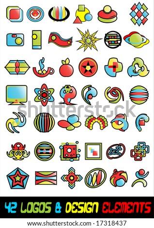 42 abstract logos icons & design elements vector - stock vector