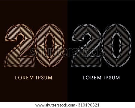 20 ,abstract luxury font, Designed using gold and black line square, geometric shape, graphic vector.
