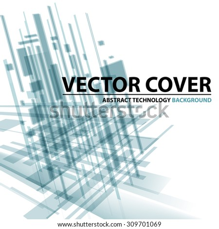 Abstract modern cover with text and heading. Technology or business or science green blue background. Digital design, transparent geometric shapes. Futuristic style. Vector version - stock vector