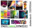 11 Abstract Music Background for Discoteque Flyer with a lot of desgin elementes - Set 4 - stock vector