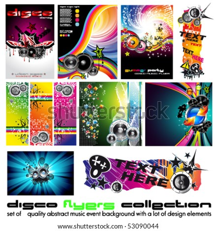 11 Abstract Music Background for Discoteque Flyer with a lot of desgin elementes - Set 4