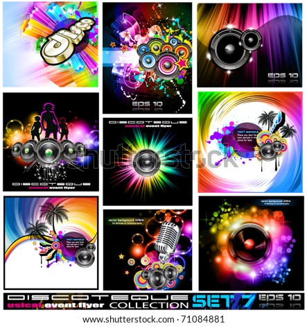 9 Abstract Music Backgrounds for Discoteque Flyer with a lot of desgin elementes - Set 7 - stock vector