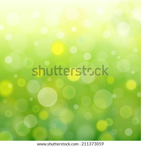 Abstract natural light background. Vector illustration. Green bokeh backdrop. - stock vector
