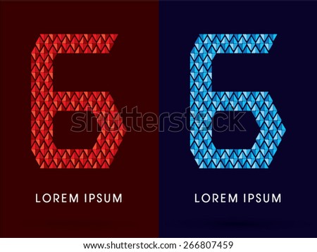 6 Abstract Number, font, concept hot and cool, fire and ice, graphic, vector.