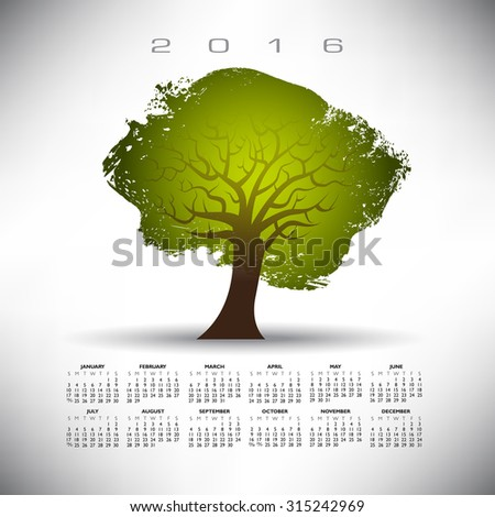 2016 Abstract tree calendar on a gray background  - stock vector