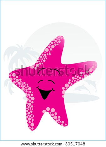 abstract tropical background with pink cute little starfish - stock vector