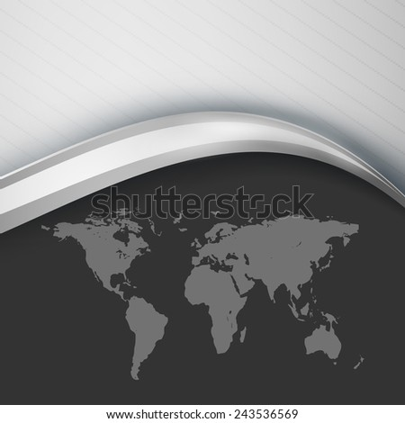 abstract vector background with wavy lines and map. Eps10 - stock vector