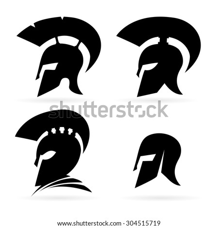 abstract vector greek helmet icon idea concept for the logo - stock vector