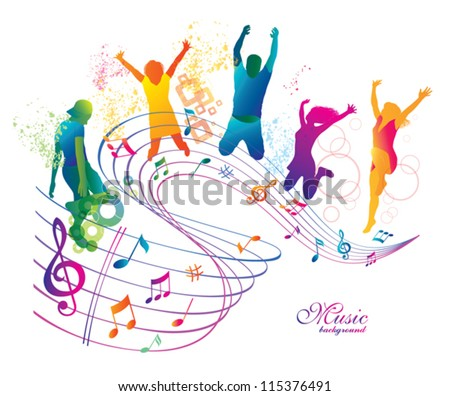 Active Jumping and Dancing People.  Abstract Music Background for Party. - stock vector