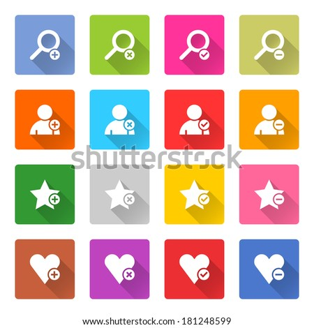 16 addition icon set 07 (white sign on color). Square web button on white background. Simple minimalistic mono flat long shadow style. Vector illustration internet design graphic element 10 eps - stock vector