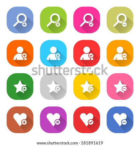 16 addition icon set 07 (white sign on color). Strong rounding corners square web button on white background. Simple flat long shadow style. Vector illustration internet design graphic element 10 eps - stock vector