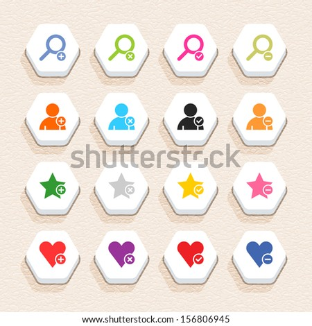 16 addition sign icon set 07 (color on white). Hexagon button web internet shape with shadow on beige paper background plastic texture. Simple flat style. Vector illustration design element 10 eps - stock vector