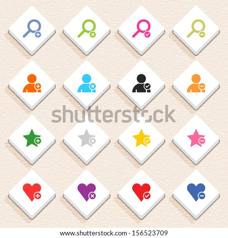 16 addition sign icon set 07 (color on white). Rhombus web internet button with long shadow on beige paper background plastic texture. Simple flat style. Vector illustration design element 10 eps - stock vector