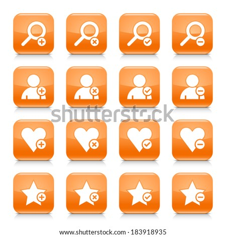 16 additional icon set 07. White sign on orange rounded square button with gray reflection, black shadow on white background. Glossy style. Vector illustration web design element in 8 eps - stock vector