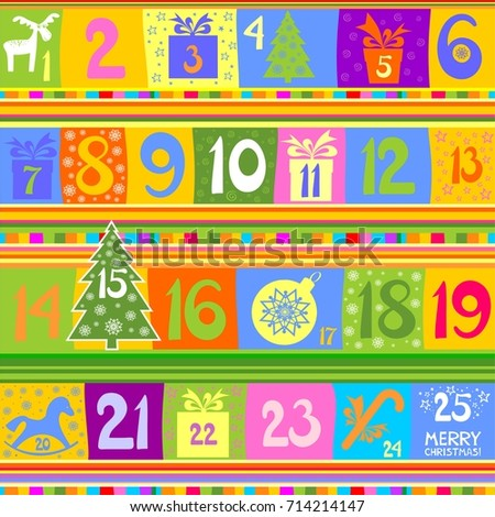 Advent Calendar 25 Windows Holiday Template Stock Vector 714214147