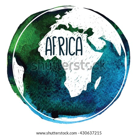 Africa. Earth and continents . Vector drawing on watercolor background staining.