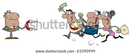 African American Businessman Using A Magnet Attracts African American People With Money - stock vector