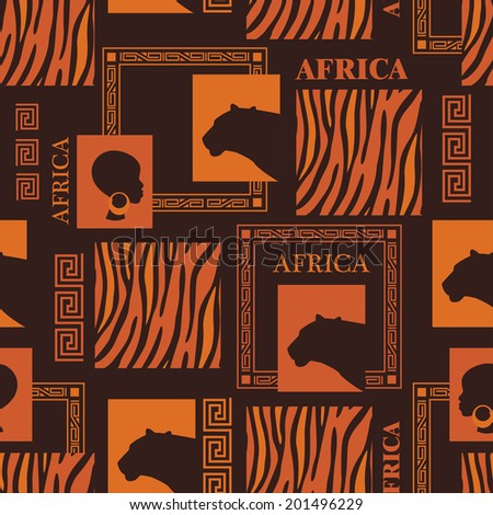 African seamless pattern with skin of tiger and beautiful ethnic woman. Vector - stock vector