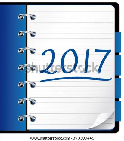 2017 agenda. Blue office notebook. Vector Illustration.  - stock vector