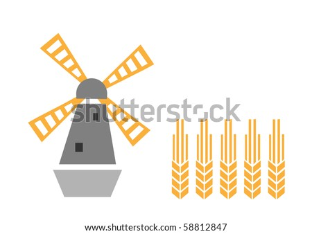 agriculture symbols windmill and ear, vector illustration - stock vector