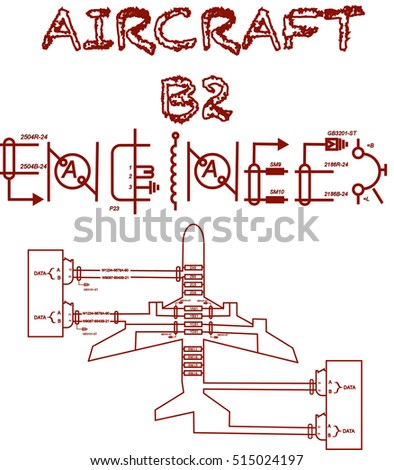 Aircraft b 2 engineer text wiring diagram stock vector 515024197 aircraft b2 engineer text with wiring diagram designed like an aircraft for printing asfbconference2016 Gallery