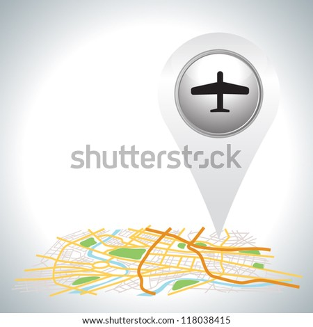 airplane pointer icon on map. - stock vector