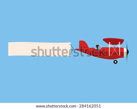 Airplane with poster - stock vector