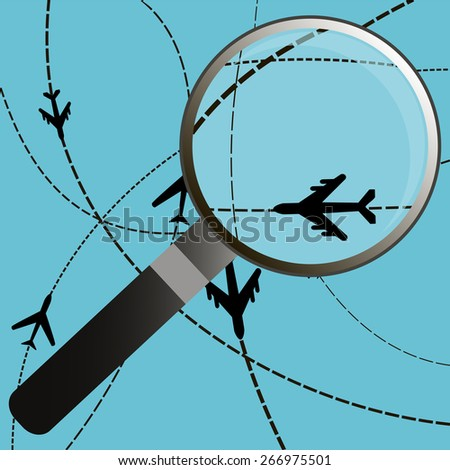 Airplanes on their destination routes with magnifying glass, Air travel. - stock vector
