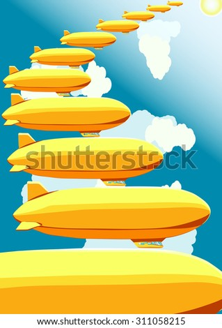 Airships, stairway in the sky, vector illustration - stock vector