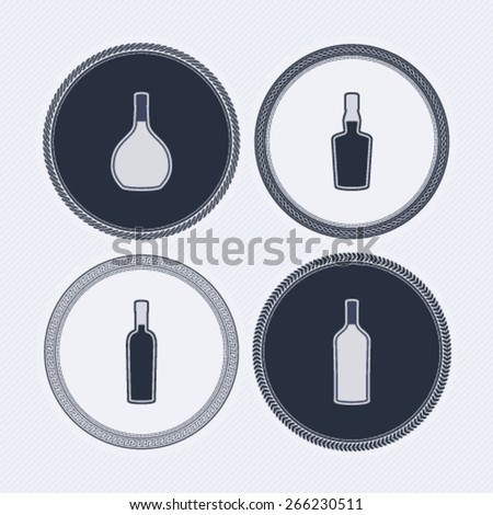 4 alcohol bottles icons shows off different bottles shapes like a vodka and a beer. Pictured here from left to right -  cognac, whiskey, wine, vodka.   - stock vector