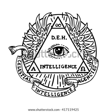 All seeing eye inside triangle pyramid. New World Order. Eye of Providence. Hand-drawn alchemy, religion, spirituality, occultism. Isolated vector illustration. Conspiracy theory. Masonic symbol. - stock vector