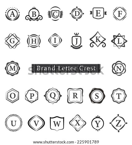 ALPHABET BRAND LETTERS CREST SUCH AS LOGO. Editable vector illustrator file. - stock vector