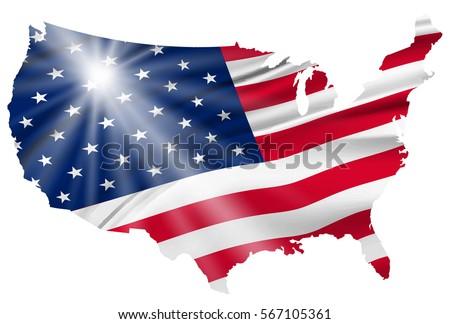 America Flag Icon Map Icon