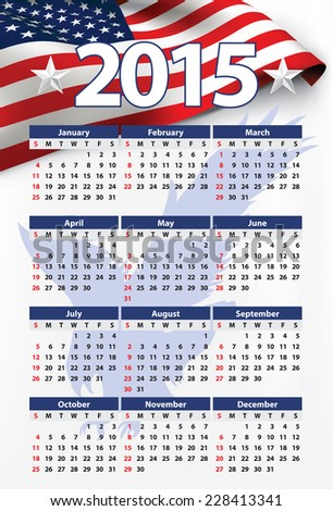 2015 American calendar - USA flag - stock vector