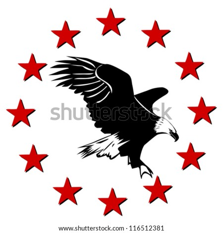 American Eagle and stars - stock vector