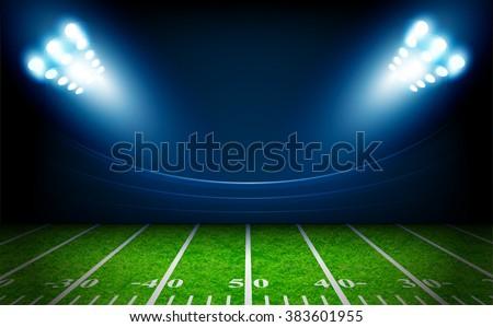 American Football field with bright stadium lights vector design - stock vector