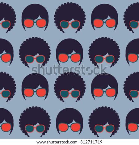 american hippie vector seamless patterns - stock vector