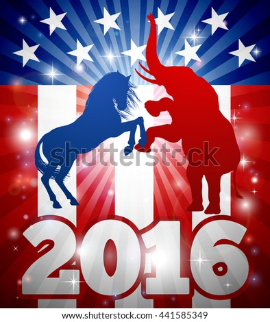 2016 American political election design. Mascot animals of American democratic and republican parties, blue donkey and red elephant in silhouette fighting each other with flag design and 2016 text. - stock vector
