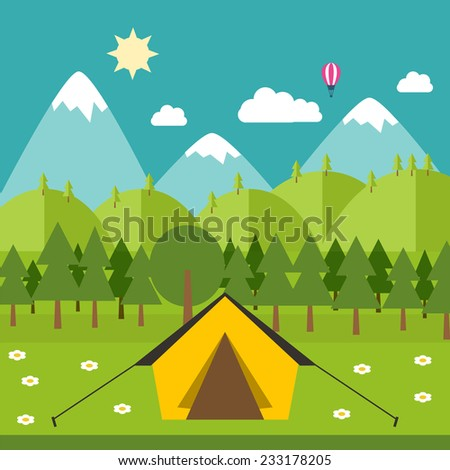 ��¡amping illustration in flat style. Vector camping with nature around. Vector stock. - stock vector