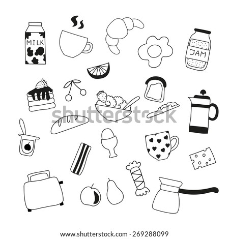 An assortment of delicious doodle of food for breakfast - stock vector