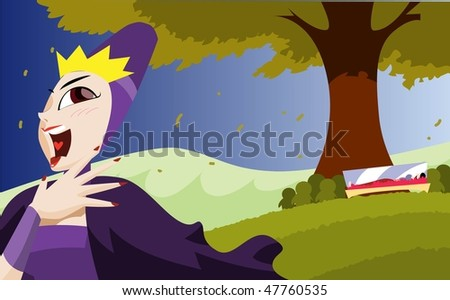 An image of the evil queen laughing and going away while Snow White's body lies entombed in a glass coffin under a tree - stock vector