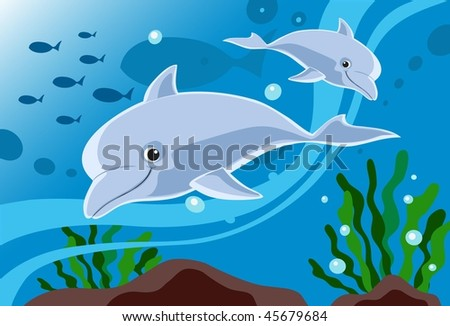 An image of two dolphins swimming in the sea - stock vector
