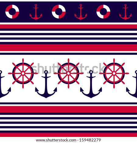 Anchor Chevron Wallpaper Anchors and ship wheel.