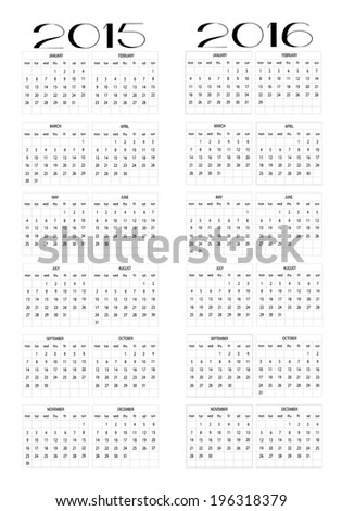 2015 and 2016 calendar in english - stock vector