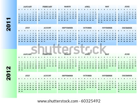 2011 and 2012 colorful vector calendars, weeks start from Monday - stock vector
